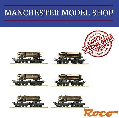 6x Roco HOe 1:87 Bogie Bolster wagon 2 piece set & logs 009 9mm NEW UNBOXED