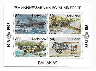 Bahamas 1993 Royal air force 75th anniversary airplane S/S MNH C2