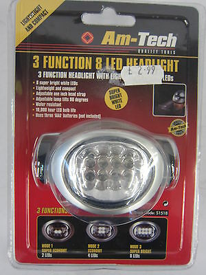 Am-Tech 3 Function 8 Led Adjustable Water Resistant Headlight Item: S1518