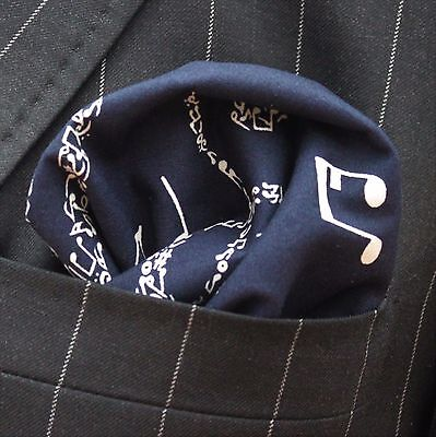 Hankie Pocket Square Handkerchief Navy Blue / music notes Premium Cotton UK Made