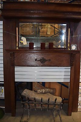Pre-Civil War Era Heavy Wood Fireplace Mantle with Mirror Insert