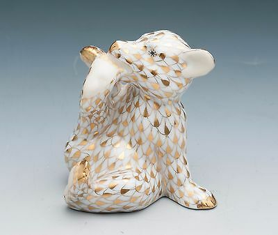 Herend Fine Porcelain Bear Cub Figurine Gold Fishnet -  2000 Membership Only