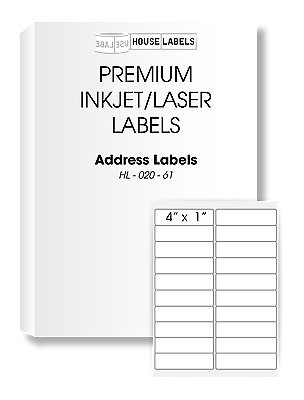25 Sheets 500 Labels 1 x 4 Fast Peel White Address Mailing Labels 20 UP