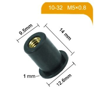 Motorcycle M5 Rubber Nut w/ Brass Insert (AKA: Well Nut) Screen nuts Free P&P