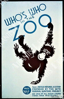 Who's Who in the Zoo Vintage WPA Poster Art Fridge Magnet 2 x 3