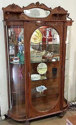 Antique Tiger Oak Bowed Glass China Cabinet Curio w/ Unusual Oval Door c. 1890s