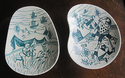 Vintage Nymolle Art Faience Set Of 2 Nut Dishes Limited Edition Denmark