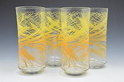 Vintage Libby Wheat Drinking Glass Set of 4 Concave Yellow Orange