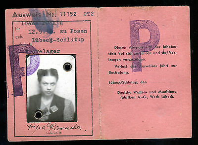 WW2 ID Ausweis polish forced laborer worker POLAND POLEN + photo with patch