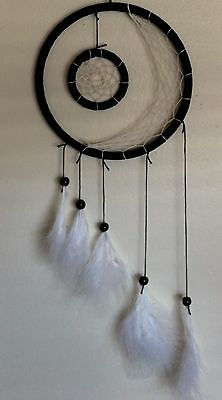 "NEW Cherokee Handmade Dream Catcher, 22"" Black & White, Feathers, Wood Beads"