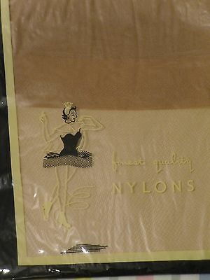Vintage Retro 1940's Stockings Unused Seamed Finest Quality Nylons Sz 10 1/2 Tan
