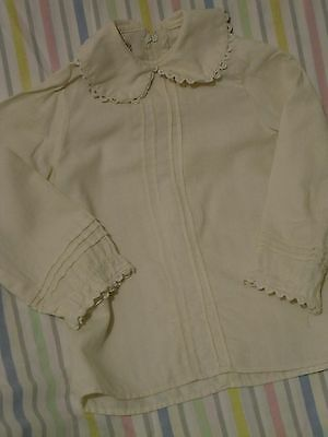 Vintage Retro 1960's Girls Blouse Cream  Frilled Wool Blend Victoriana Sz  7/8 ?