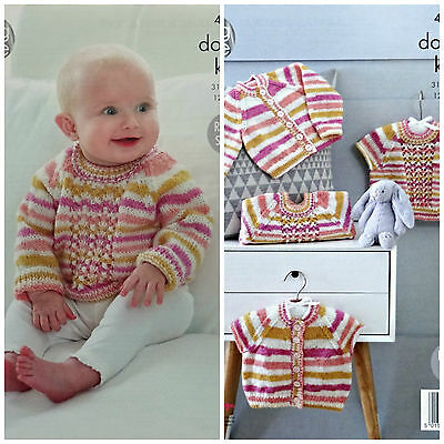 KNITTING PATTERN Baby Cardigans and Jumpers Candystripe DK King Cole 4813