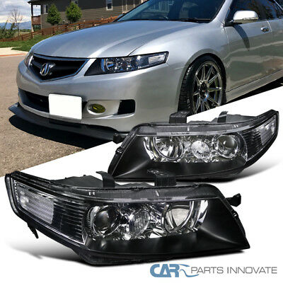 Acura 04-05 TSX 4Dr Sedan JDM Replacement Black Projector Headlights Head Lamps
