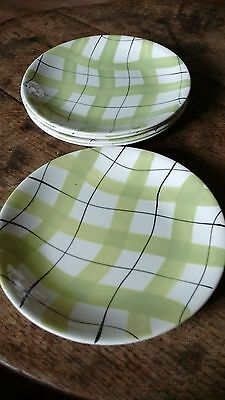 """VINTAGE 1950s EMPIRE GREEN CHECK DINNER PLATES, SET OF 5 x 9.5"""""""