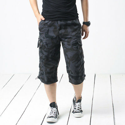 Hot Men 3/4 Length Camouflage Cargo Shorts Pants Loose Casual Trousers Over Size