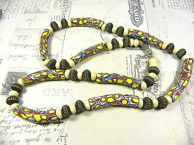 Antique African Trade Bead Millifiori Brass Necklace Elbow Beads
