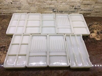 Lot 9 Antique Milk Glass Dental Tray American Cabinet  Dentist Sorting Vintage