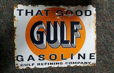 Vintage That Good Gulf Gasoline Porcelain Sign Pump Lubster Gulf Can Oil Shell