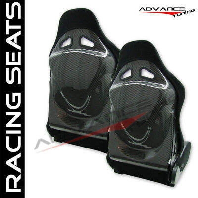 Universal RS Style Black Carbon Racing Seats + Rear Exit Lever Pair