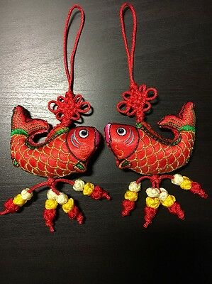 2x Chinese lucky Knot Red (Fish) --Wall Hanging