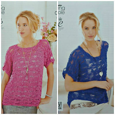 Knitting Pattern Ladies Easy Knit Boat Neck Scoop Neck Jumpers