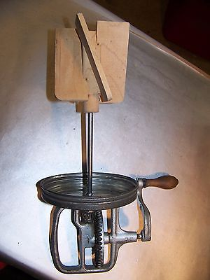VINTAGE  Butter Churn Lid with Crank & Paddles