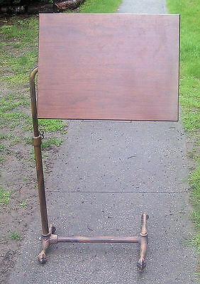 Antique c1915 Drafting Cast Iron and Wooden Tilt Table CLAW FEET BEAUTIFUL