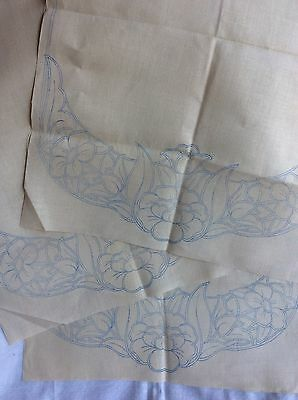 Set of 3 Vintage Chair Back Covers Transfer Printed to Embroider Cream Linen