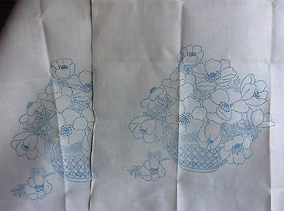 Pair (2) Vintage Chair Back Covers Cream Transfer Printed & Ready to Embroider