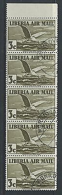 LIBERIA - #C6 - 3c ALBATROSS IN FLIGHT AIRMAIL STRIP OF 5 WITH TAB (1938) MNH