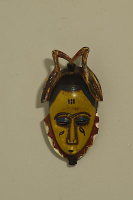 African Mask Yellow Face Bird Baule Mali Painted Wood Wisdom Mask