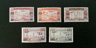Syria, 1948, Sc C148-C152, MNH, complete airmail set, rare as MNH, Very Fine.