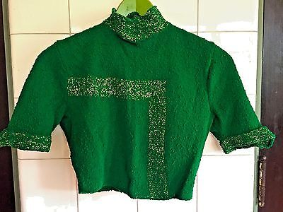 Vintage 1940s 1950s Emerald Green Gold Lurex Cropped Nubbly S/S Sweater