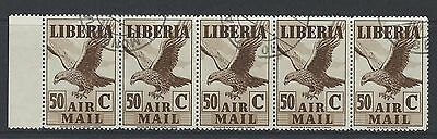 LIBERIA - #C12 - 50c EAGLE IN FLIGHT AIRMAIL STRIP OF 5 WITH LEFT TAB (1938) MNH
