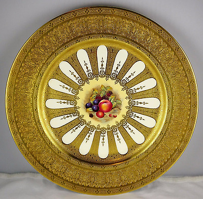 Aynsley Heavy Gold Encrusted Porcelain Cabinet Plate Hand Painted Fruit Motif