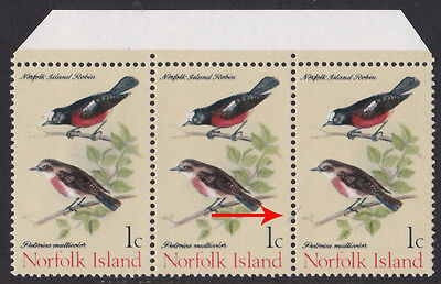 1970 Norfolk Island Robins 1c u/m stamp with Extra Branch Variety