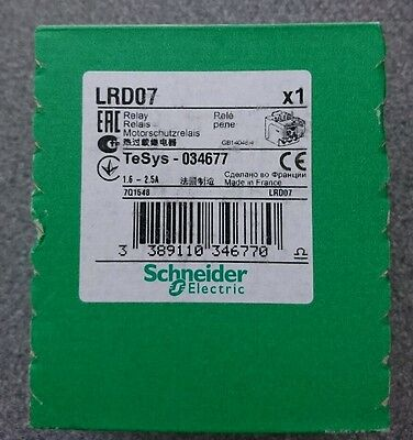 Schneider Electric Telemechanique square D LRD07 motor overload relay 1.6 - 2.5A