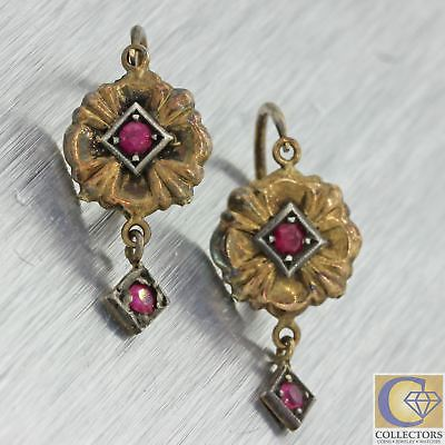 1890s Antique Victorian 18k Solid Yellow Gold Square Shape Red Ruby Earrings