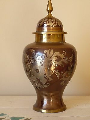 "Vintage Three Colored Brass Urn Ornate Engraved Floral Design India 12"" High"