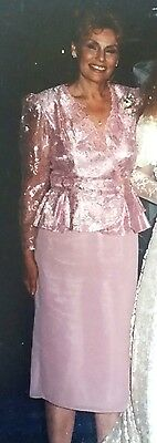 PATRA Elegant Shimmery Soft Pink Dress, Lacey Blouse with a Silky Skirt Size 8