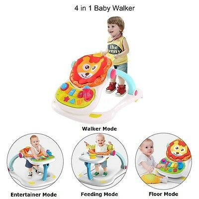 NEW 4in1 Interactive Baby Walker Stationary Dining Chair Musical Activity Toy