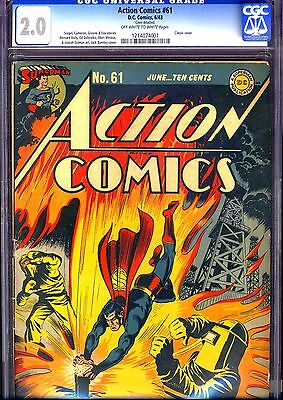 Action Comics #61 (Jun 1943, DC) CGC 2.0 unrestored. classic Superman cover