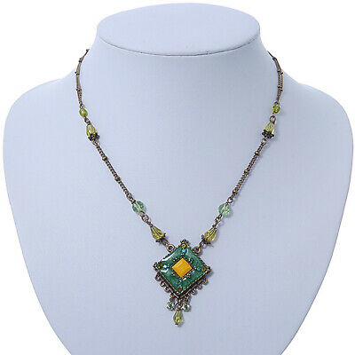 Vintage Inspired Green, Yellow Square Pendant On Bronze Tone Beaded Chain Neckla