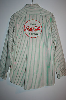 Vintage 1950's Round Patches Coca-Cola Delivery Driver L/Sleeve Shirt Pinstripes