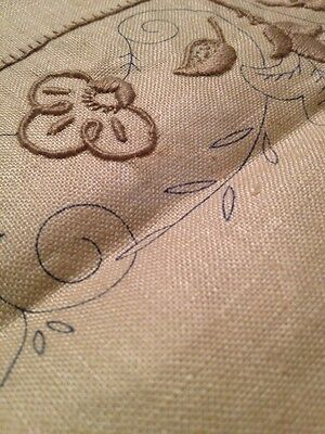SEMCO Vintage Tablecloth Table Supper Cloth Transfer Embroidery  Linen