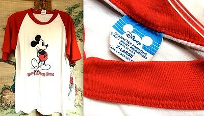 VTG 70s MICKEY MOUSE DISNEY CHARACTER USA WHITE RED BASEBALL RAGLAN T-SHIRT XL