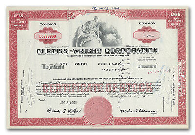 Curtiss-Wright Corporation Stock Certificate