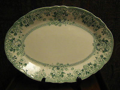 ANTIQUE TRANSFERWARE PLATTER GREEN & WHITE ADAMS & CO. ARCADIA  c 1893 14 1/2""