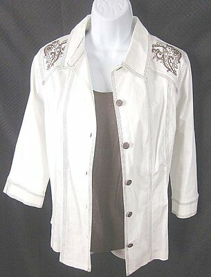 NWT SUSAN GRAVER Lot of 2 Embroidered Shirt Jacket & Matching Top SZ SMALL